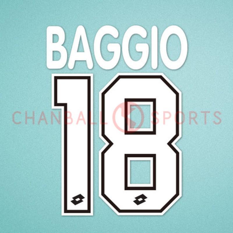 AC Milan 1995-1996 Baggio #18 Homekit Nameset Printing