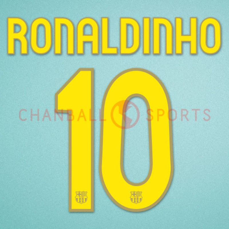 Barcelona 2007-2008 Ronaldinho #10 Homekit Nameset Printing