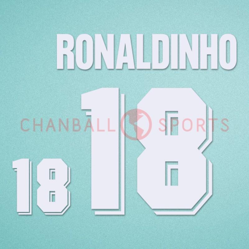 Brazil 1994 Ronaldinho #18 World Cup Awaykit Nameset Printing